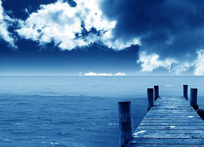 blue, ocean, clouds, landscapes, nature, dock - random desktop wallpaper