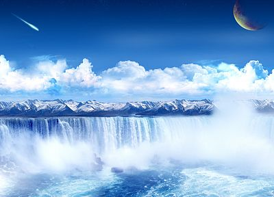 mountains, Moon, mist, waterfalls, skyscapes - related desktop wallpaper