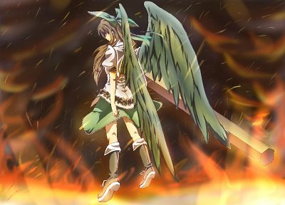 brunettes, boots, Touhou, wings, flying, fire, skirts, long hair, weapons, red eyes, cannons, bows, Reiuji Utsuho - related desktop wallpaper