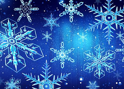 blue, snowflakes - random desktop wallpaper