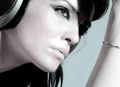 headphones, women, music - related desktop wallpaper