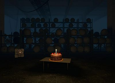 Portal, Companion Cube, the cake is a lie, cakes - random desktop wallpaper