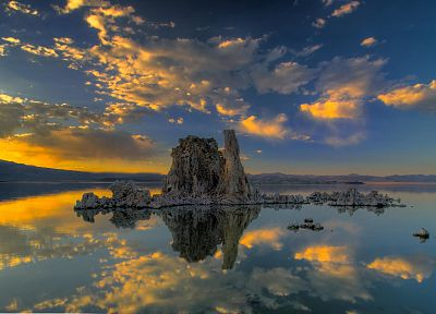 water, sunset, clouds, California, lakes, reflections, Mono Lake - random desktop wallpaper