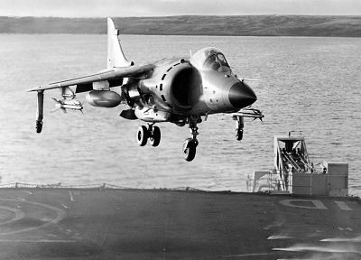 military, airplanes, grayscale, harrier, monochrome, vehicles, aircraft carriers, Sea Harrier, Falkland - related desktop wallpaper