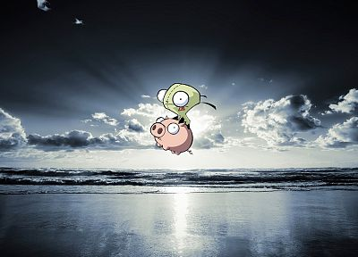 ocean, clouds, Invader Zim, pigs, Gir, sea - related desktop wallpaper