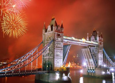 cityscapes, architecture, fireworks, London, urban, buildings, Tower Bridge - related desktop wallpaper