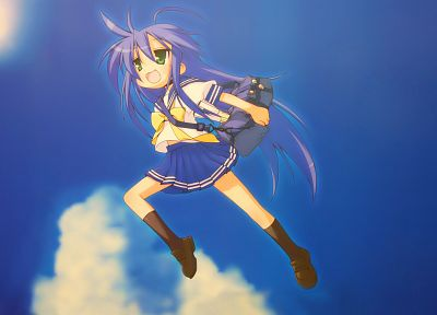 Lucky Star, school uniforms, The Girl Who Leapt Through Time, anime, Izumi Konata, skies, knee socks - random desktop wallpaper