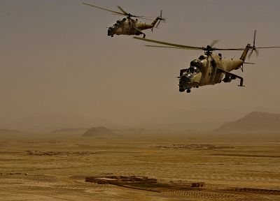 aircraft, military, helicopters, Afghanistan, mil, hind, vehicles, Mi-24, patrol, pair - desktop wallpaper