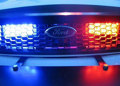 cars, Ford, police, police cars, blue light, red light - random desktop wallpaper