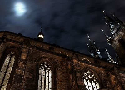 clouds, night, architecture, Moon, buildings, castle - desktop wallpaper