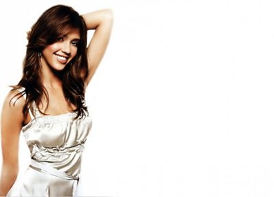 brunettes, women, dress, Jessica Alba, actress, white background - desktop wallpaper