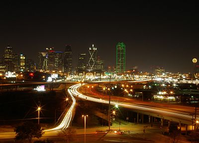 cityscapes, buildings, Dallas, long exposure - desktop wallpaper