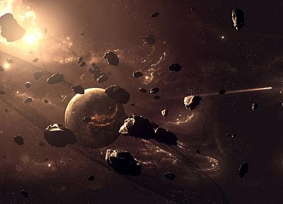 outer space, planets, rocks, asteroids - random desktop wallpaper
