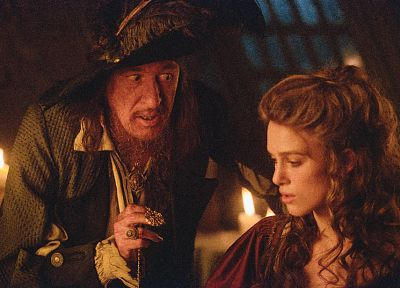 Keira Knightley, Pirates of the Caribbean, Geoffrey Rush, Captain Hector Barbossa, Elizabeth Swann - related desktop wallpaper