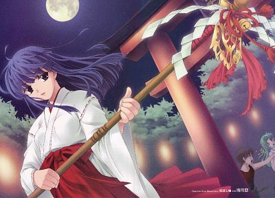 night, Higurashi no Naku Koro ni, Miko, Furude Rika, anime, torii, staff - random desktop wallpaper