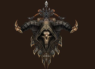 skulls, horns, Demon Hunter, Diablo III, crossbows - random desktop wallpaper