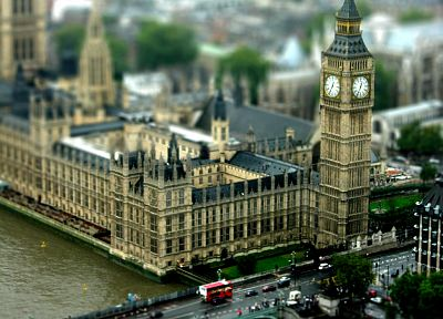 England, London, Big Ben, tilt-shift, Houses of Parliament, Palace of Westminster - desktop wallpaper