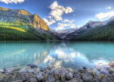 mountains, clouds, landscapes, nature, rocks, HDR photography, reflections, blue skies - desktop wallpaper