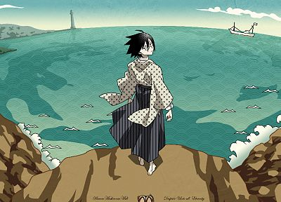 Sayonara Zetsubou Sensei, tears, ships, glasses, rocks, outdoors, buildings, lighthouses, green eyes, barefoot, short hair, scenic, anime boys, ahoge, Itoshiki Nozomu, Japanese clothes, looking back, striped clothing, bangs, black hair, skies, sea - related desktop wallpaper