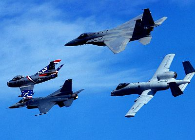 aircraft, military, USA, planes, F-86 Sabre, F-15 Eagle, A-10 Thunderbolt II, F-16 Fighting Falcon - desktop wallpaper