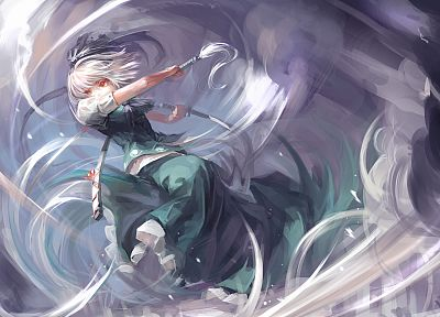 Touhou, Konpaku Youmu, red eyes, white hair, anime girls - related desktop wallpaper