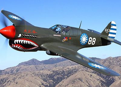 aircraft, military, World War II, Warbird, Curtiss P-40, fighters - related desktop wallpaper