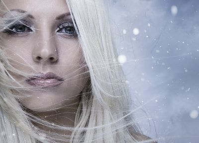 blondes, women, winter, snow, pierced nose, faces - random desktop wallpaper