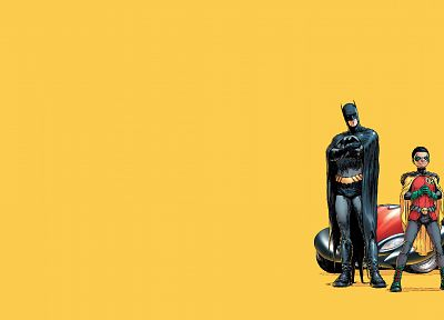 Batman, Robin, DC Comics, comics, simple background, Dick Grayson, yellow background, Frank Quitely - related desktop wallpaper