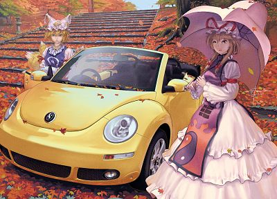 Touhou, autumn, dress, cars, leaves, Yakumo Yukari, umbrellas, Yakumo Ran, anime girls, Geister - desktop wallpaper