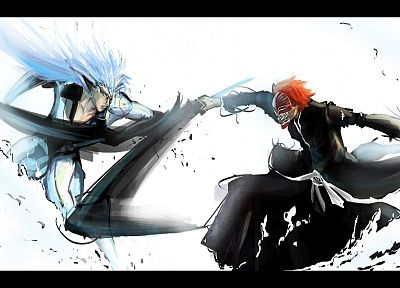 Bleach, Kurosaki Ichigo, Espada, Grimmjow Jaegerjaquez, Hollow Ichigo, Pantera, swords - related desktop wallpaper