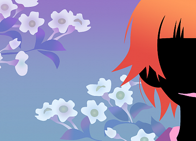 Sayonara Zetsubou Sensei, cherry blossoms, blossoms, short hair, no face, dark skin, orange hair, anime girls, faces, blue background, bangs, Tsunetsuki Matoi, lipstick - desktop wallpaper