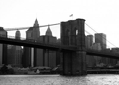 bridges, Brooklyn Bridge, flags, New York City, Manhattan, grayscale, monochrome, American Flag - related desktop wallpaper