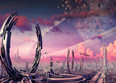 cityscapes, futuristic, spaceships, artwork - desktop wallpaper