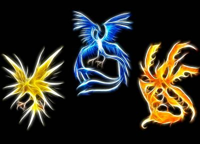 Pokemon, Zapdos, Articuno, Moltress - random desktop wallpaper