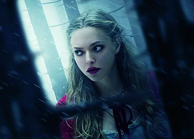 blondes, women, snow, movies, forests, Amanda Seyfried, Red Riding Hood (movie), photo manipulation - desktop wallpaper
