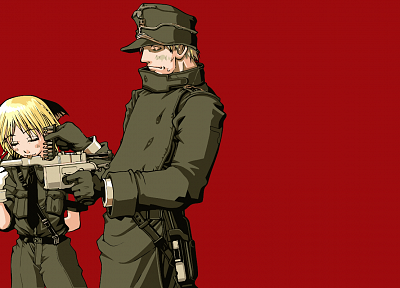 Hellsing, animal ears, Hellsing Ultimate, simple background, Captain (Hellsing), Schrödinger - desktop wallpaper