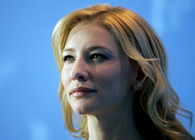 blondes, women, actress, Cate Blanchett, blue background - random desktop wallpaper