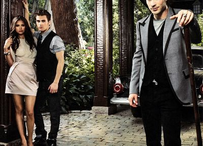 Nina Dobrev, The Vampire Diaries, Ian Somerhalder, Elena Gilbert, Paul Wesley, Stefan Salvatore, Damon Salvatore - random desktop wallpaper