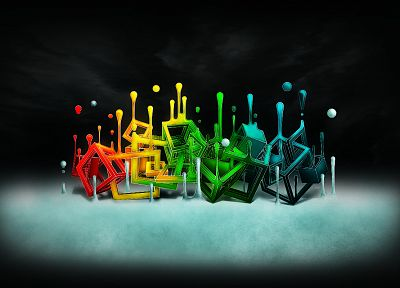 abstract, multicolor, liquid, cubes - random desktop wallpaper