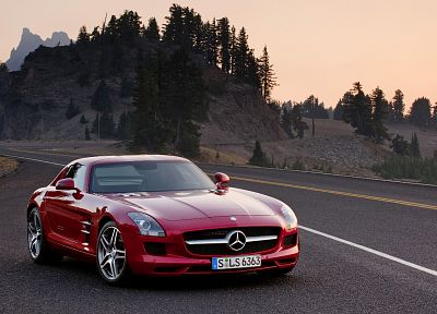 cars, roads, vehicles, red cars, Mercedes-Benz, Mercedes-Benz SLS AMG E-Cell - random desktop wallpaper