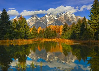 autumn, Wyoming, Grand Teton National Park, National Park, reflections - related desktop wallpaper