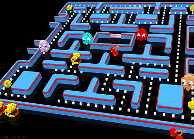 Pac-Man, voxels - related desktop wallpaper