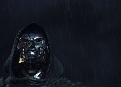 rain, masks, Dr. Doom - random desktop wallpaper