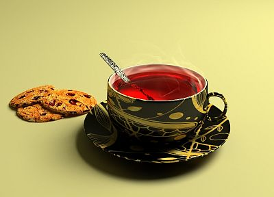 tea, cookies - desktop wallpaper