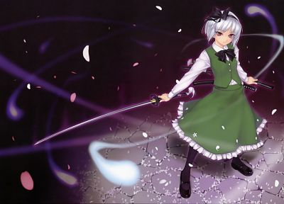Touhou, Konpaku Youmu, white hair, gray hair, anime girls, Rokuwata Tomoe - related desktop wallpaper