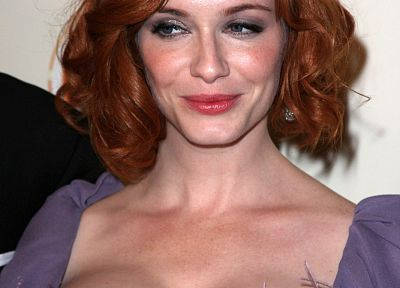 boobs, actress, redheads, cleavage, Christina Hendricks, Mad Men, big boobs - random desktop wallpaper