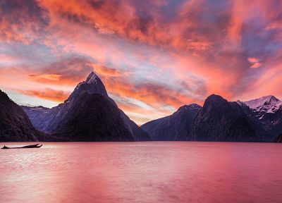 sunset, mountains, landscapes, nature, New Zealand, lakes - related desktop wallpaper