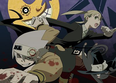 Soul Eater, cats, Moon, Albarn Maka, Soul Eater Evans - related desktop wallpaper