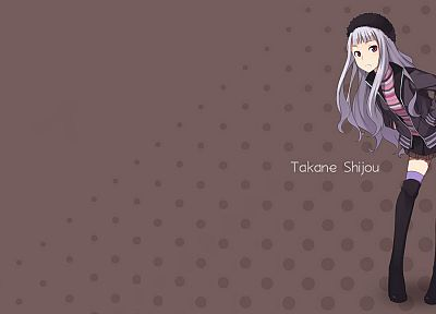 stockings, skirts, red eyes, anime, white hair, anime girls, Shijou Takane, Idolmaster - related desktop wallpaper