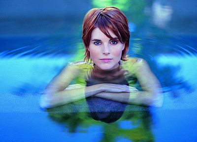 women, water, blue eyes, redheads, short hair, faces - related desktop wallpaper